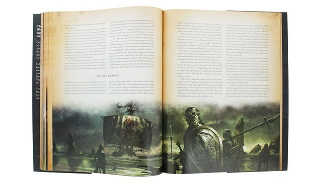 A full-page spread of The World of Ice and Fire, centering on the chapter on The Red Kraken