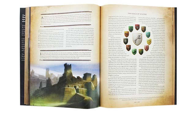 A full-page spread of The World of Ice and Fire, centering on the chapter on The Kings of Winter