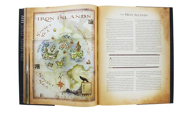 A full-page spread of The World of Ice and Fire, centering on the chapter on The Iron Islands