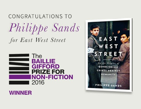 Congratulations to Philippe Sands for East West Street - the Bailie Gifford Prize for Non-Fiction 2016 award winner